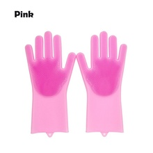 1 Pair Multifunction Kitchen Cleaning  Magic Silicone Scrubbe Rubber Dish Washing Gloves Household Brush