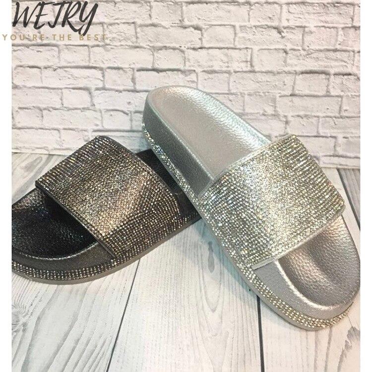 Women Summer Glitter Slippers Soft Sole Slides Women Shoes Crystal Diamond Bling Beach Slides Sandals Slip On Flip Flops