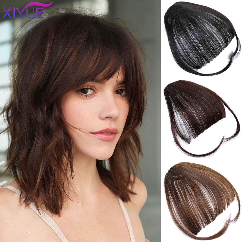 Black Brown Gold Fake Wig Fringe Clip In Blunt Bangs Synthetic Hair Extensions With High Temperature Fiber For Women Bangs