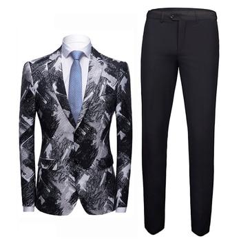 2020 New Fashion Men's Jacquard Suit Two-piece Sets Black Wine Red Classic Wedding Groom Men Suit Jacket and Pants Size S - 4XL