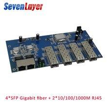 Волоконно-оптический коммутатор 4 1,25G sfp 2 1000M RJ45 промышленный гигабитный Ethernet коммутатор одномодовый одноволоконный PCB