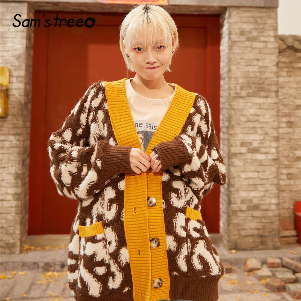 SAM'S TREE Red Leopard Print Single Button Cardigan Sweater Women 2020 Spring Yellow Colorblock Korean Long Sleeve Ladies Tops