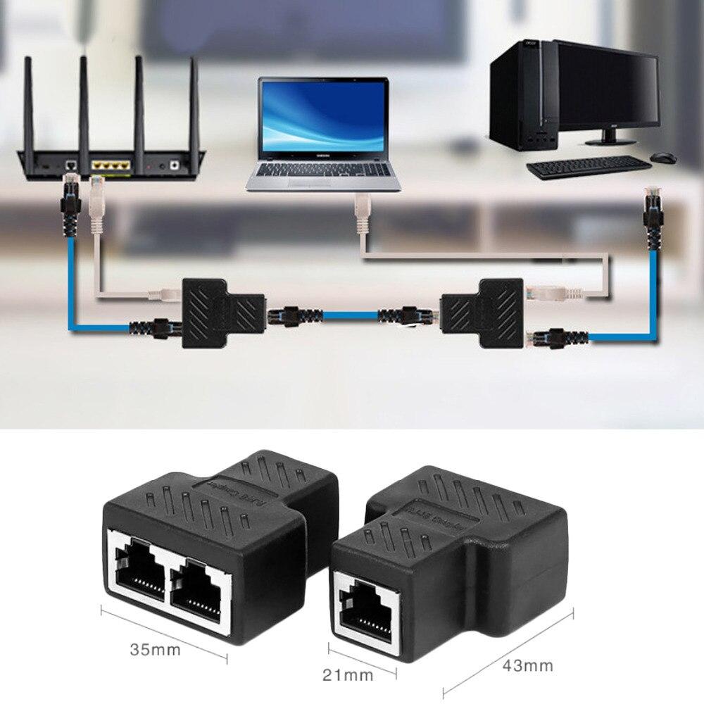 Elisona 1 to 2 Way LAN Ethernet Network Cable Splitter Adapter RJ45 Female Splitter Socket Connector Adapter For Laptop(China)