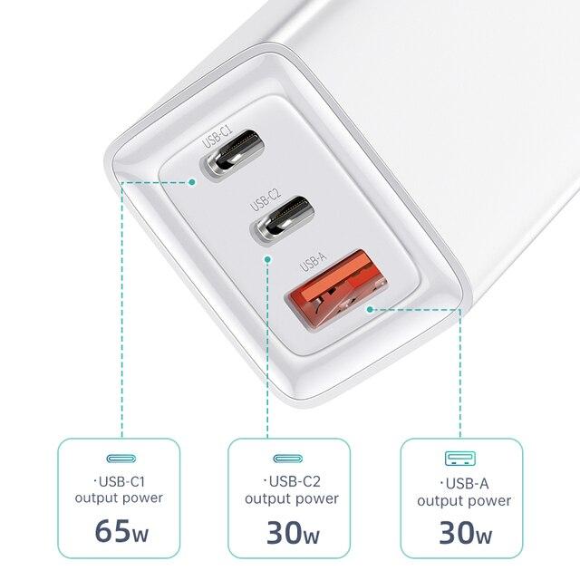 GAN 65W USB C cargador de carga rápida 4,0 3,0 QC4.0 QC PD3.0 PD USB-C tipo C USB cargador para el IPhone Samsung Xiaomi portátil