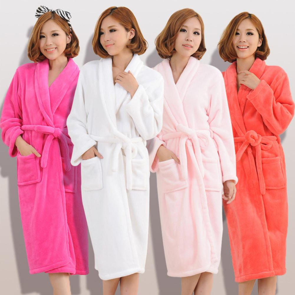 Warm Fleece Bath Robe Women Solid Color Winter Bath Robe Long Sleeve Bathrobe Women Waist Belt Pockets Bathrobe Womens Sleepwear
