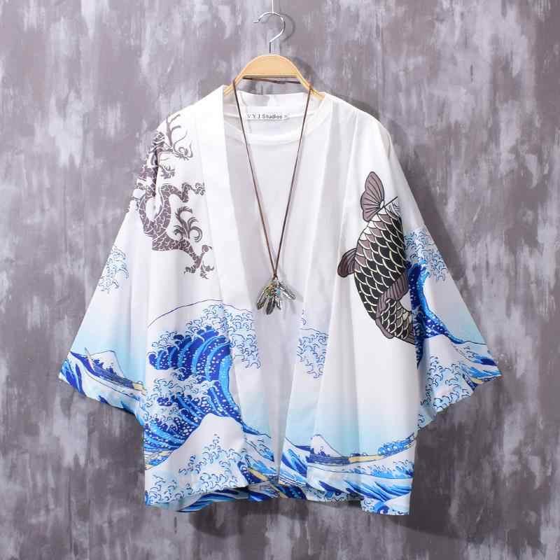 화이트 블랙 남성 Streetwear 여성 카디건 블라우스 하오리 오비 아시아 옷 사무라이 기모노 하라주쿠 일본 패션