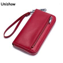 RFID Blocking Wristlet Split Leather Women Wallet Long Lady