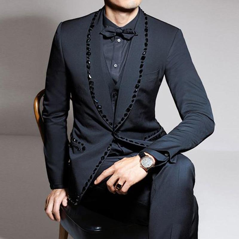 3 Piece Rhinestone Prom Men Suits for Wedding Slim Fit Groom Tuxedo with Shawl Lapel Male Fashion Jacket Vest Pants