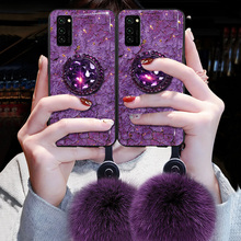 Lanyard Marble Glitter Case For Huawei Y9 Prime 2019 Y5P Y6P Y7P Y7A Y8P Y9S Hairball Soft Cover For Honor 9XPro 8X 9S 10i 20i