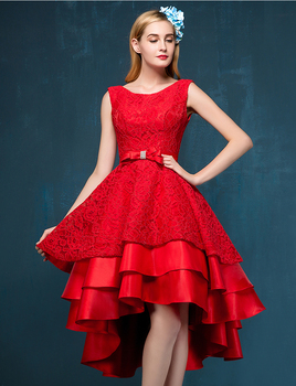 free shipping Party 2018 red After short before sexy backless custom off the shoulder a-line lace Prom gown bridesmaid dresses