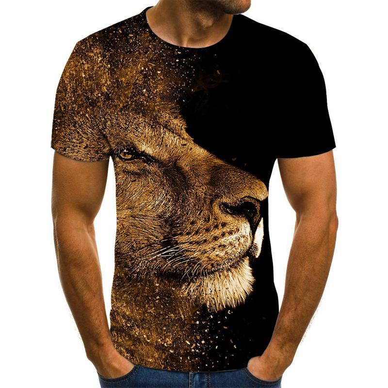 New High Quality T-shirt 2019 Rare Things Short Sleeve Lion Fashion Design Men's 3D Animal Print T-shirt Summer Casual T-shirt
