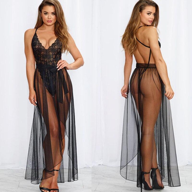 2 Pcs Women Sexy Lingerie Nightwear Erotic Underwear Sleepwear Lace Teddy Babydoll Set Chiffon Nightwear Exotic Apparel 2019 Hot