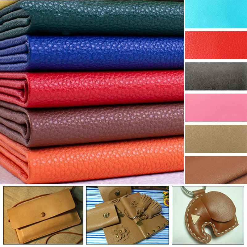 1PC 20CM*15CM Litchi Pattern Artificial Synthetic PU Faux Leather Fabric For Sewing DIY Bag Shoes Sofa Material Hademade Fabric