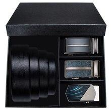 Hi-Tie Fashion Mens Black Leather Belts for Men Formal Designer Male Business Office Suit Automatic Buckle Waist Strap
