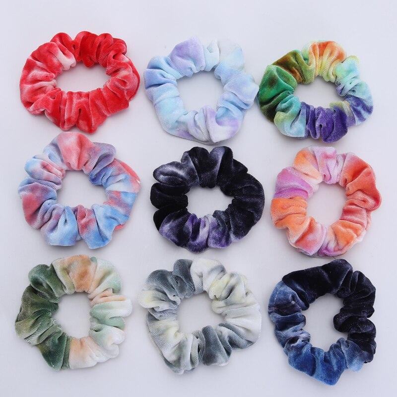 6PCS New Girls Tie-dyed Velvet Hair Scrunchies Small Size Elastic Hair Bands Children Hair Holder Hair Accessories Gift