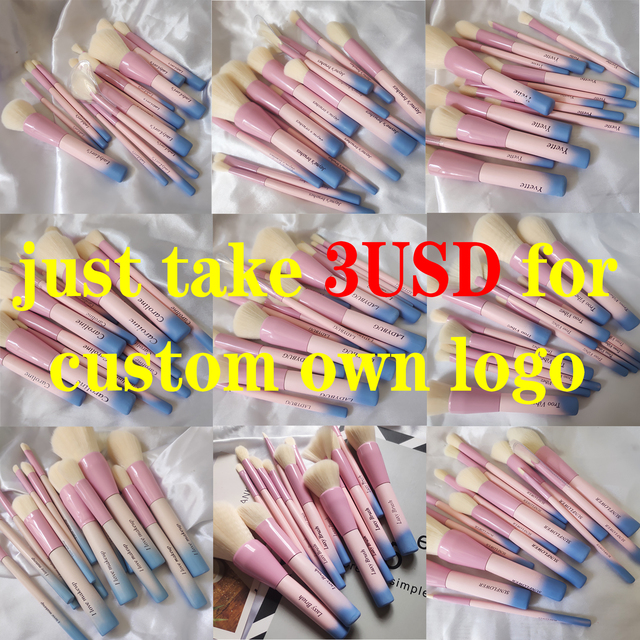 Gradient Color Pro 14pcs Makeup Brushes Set Cosmetic Powder Foundation Eyeshadow Eyeliner Brush Kits Make Up Brush Tool 5