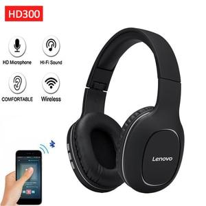 Image 2 - سماعات لينوفو HD300 الجديدة اللاسلكية Bluetooth5.0 قابلة للطي على الأذن سماعة الرياضة الموسيقى سماعة دعم TFCard مع ميكروفون