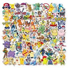 50 100 pçs pokemon adesivos estéticos dos desenhos animados anime graffiti pegatinas mala guitarra à prova dwaterproof água naklejki