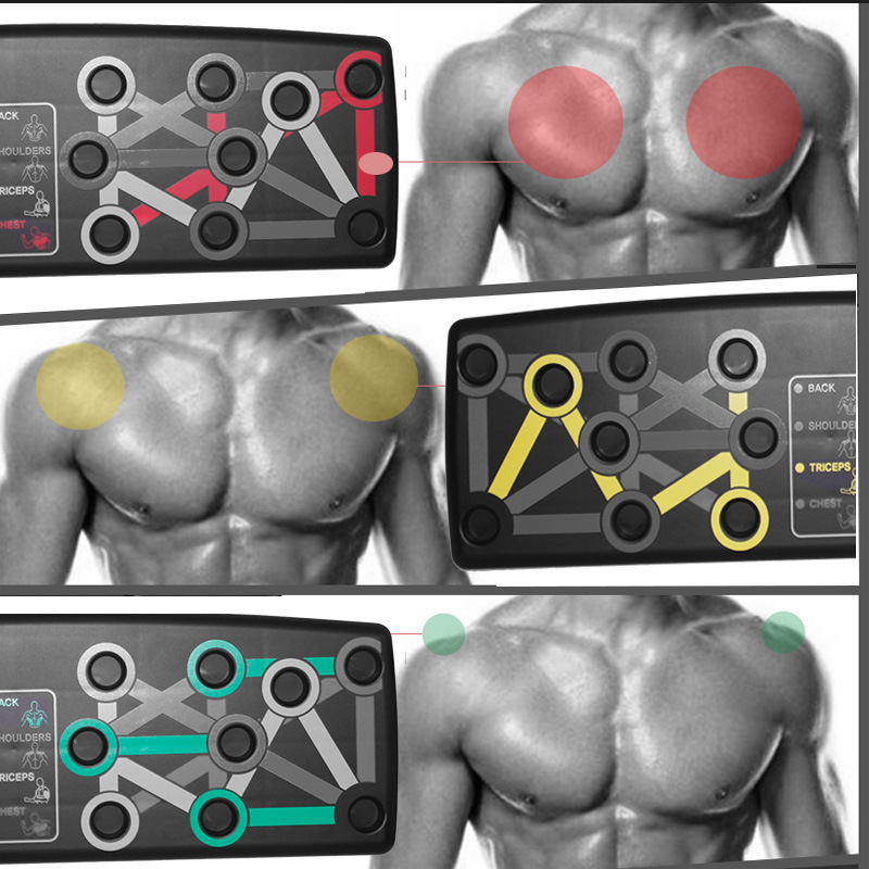 ISE 14 in 1 Push Up Board,Multifunctional Foldable Push Up Rack Board with Resistance Band Handle SY-MG007 Home Body Muscle Fitness Training for Men//Women Gym Bar