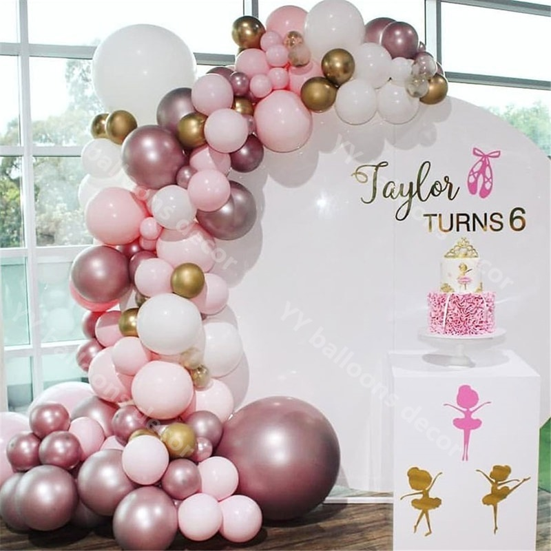 114pcs Chrome Rose Gold Garland 1 Kit Pastel Pink White Helium Latex S For Birthday Wedding Baby Shower Party Ballons Accessories Aliexpress
