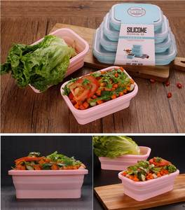 Lunch-Box Food-Storage Container Microwavable Rectangle Collapsible Bpa-Free Silicone