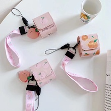 Leather Earphone Case For AirPods Case Luxury Fruit Cartoon Bag Cover For Apple Air pods 2 Case Box