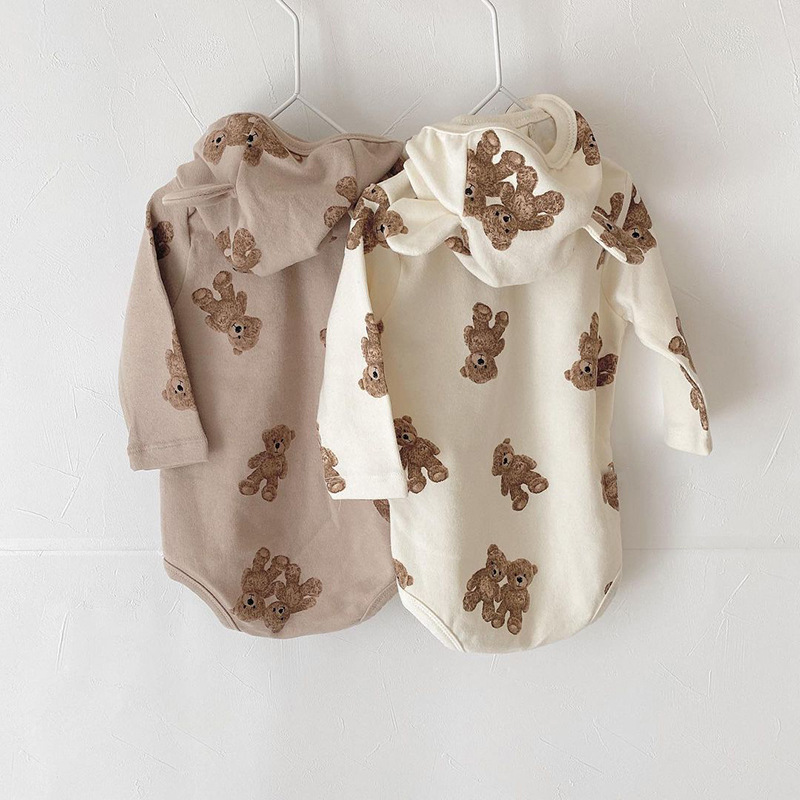1302.0¥ 41% OFF|MILANCEL 2021 Autumn Baby Bodysuit Cute Bear Suit With Hat Full Sleeve One Piece In...