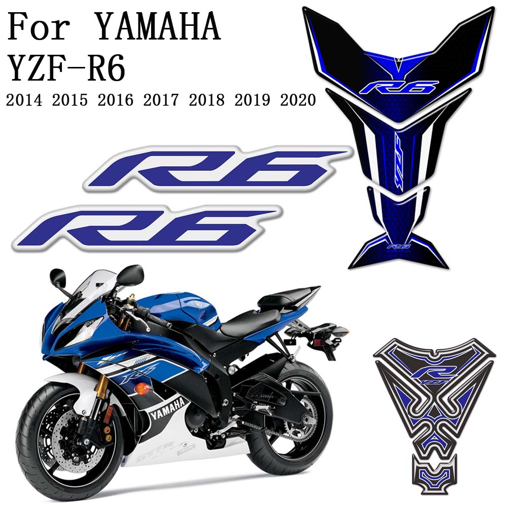 Set Tankpad Tank Pad Cappad Motorcycle 3d sticker FOOQS for Yamaha Yzf R6 YzfR6