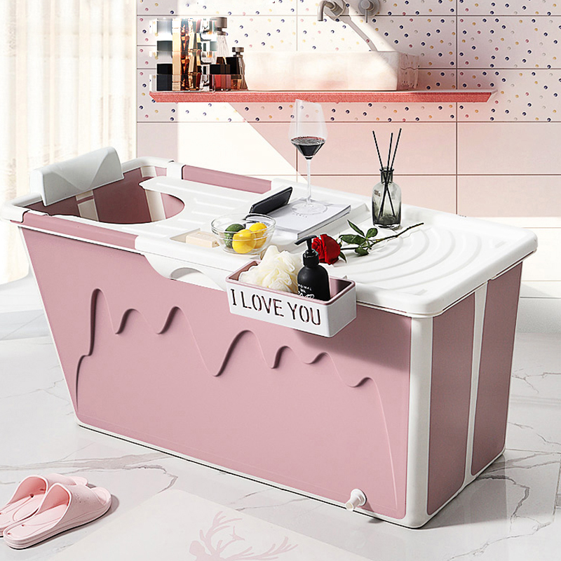 Free Shipping 1.2M/40in Home Bathtub Child Swimming Pool Adult Bath Tub Whole Body Wash Thickened Fold Plastic With Lid & Pillow