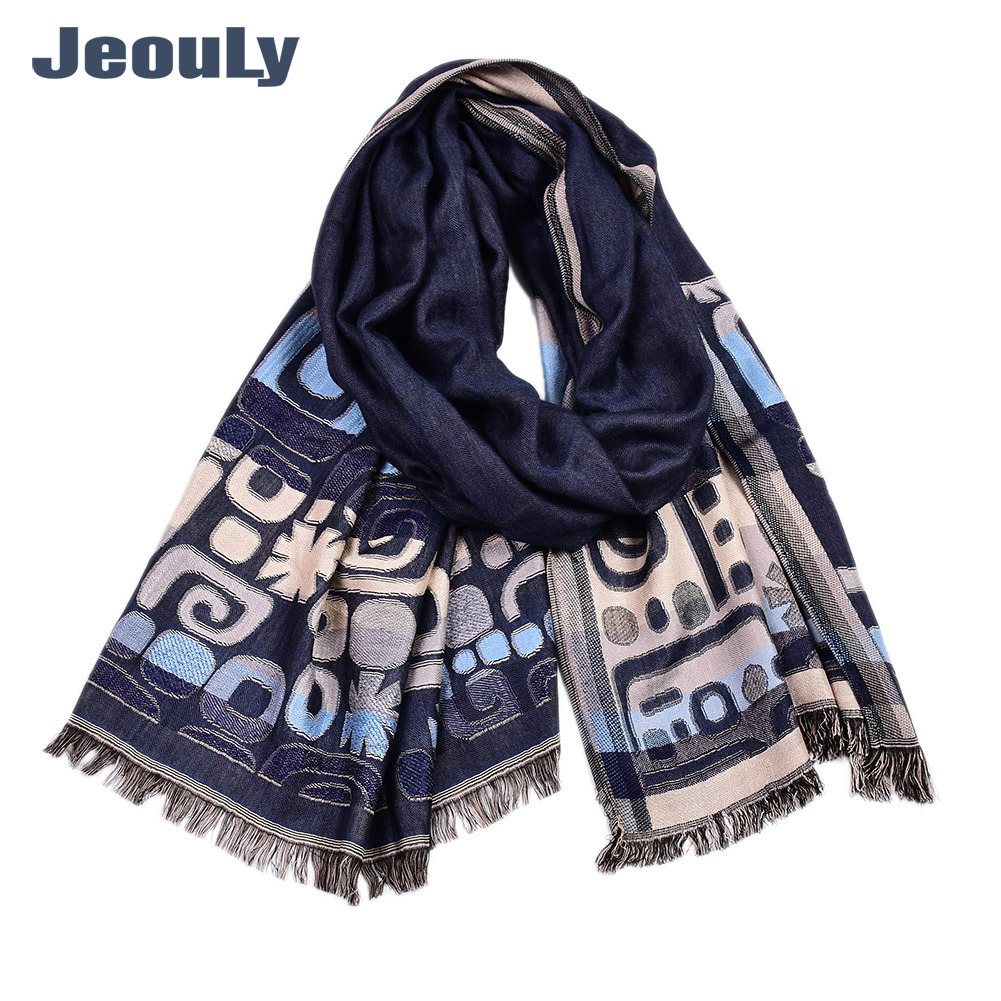 Men England Long Cotton Scarf Double Layer Arab Element Men's High-End Casual Scarf