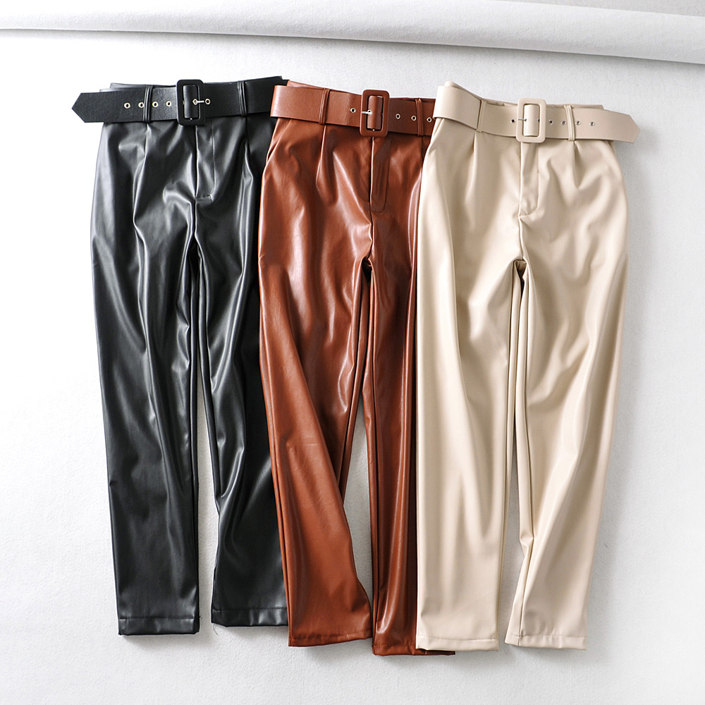 PU Leather High Waisted Pants Women Fashion Loose Faux Leather Trousers Women Elegant Pockets Pants Female Ladies 3 Color Beige