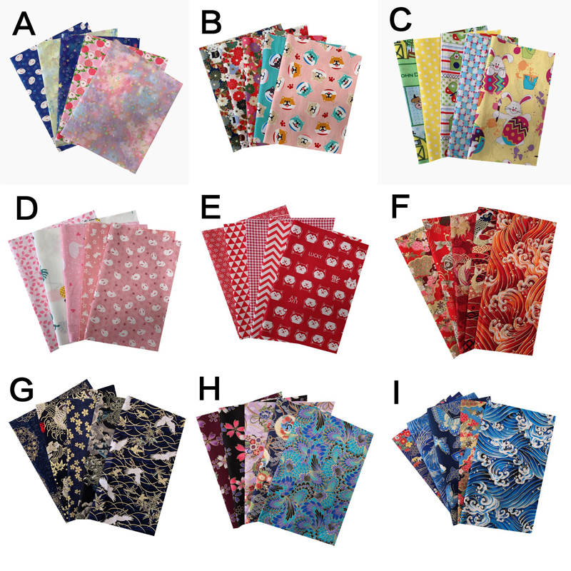 5pcs/lot 20x25cm 100% Cotton Fabric Printed Cloth Sewing Quilting Fabrics For Patchwork Needlework DIY Handmade Accessories