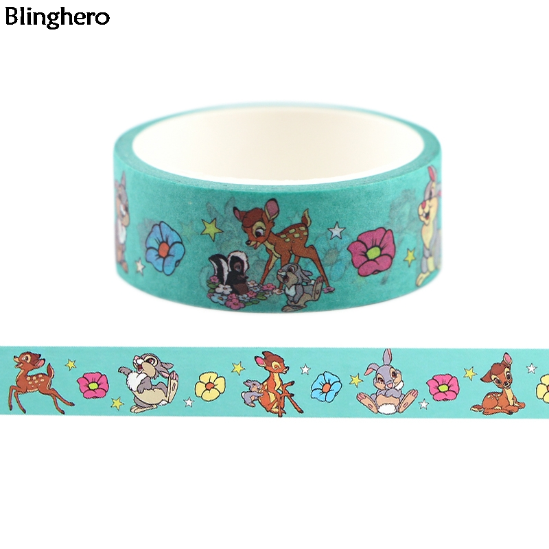 Blinghero 15mmX5m Cartoon Deer Washi Tape Cute Deer Rabbit Adhesive Tapes Kawaii Masking Tape Gift For Family Friends BH0404