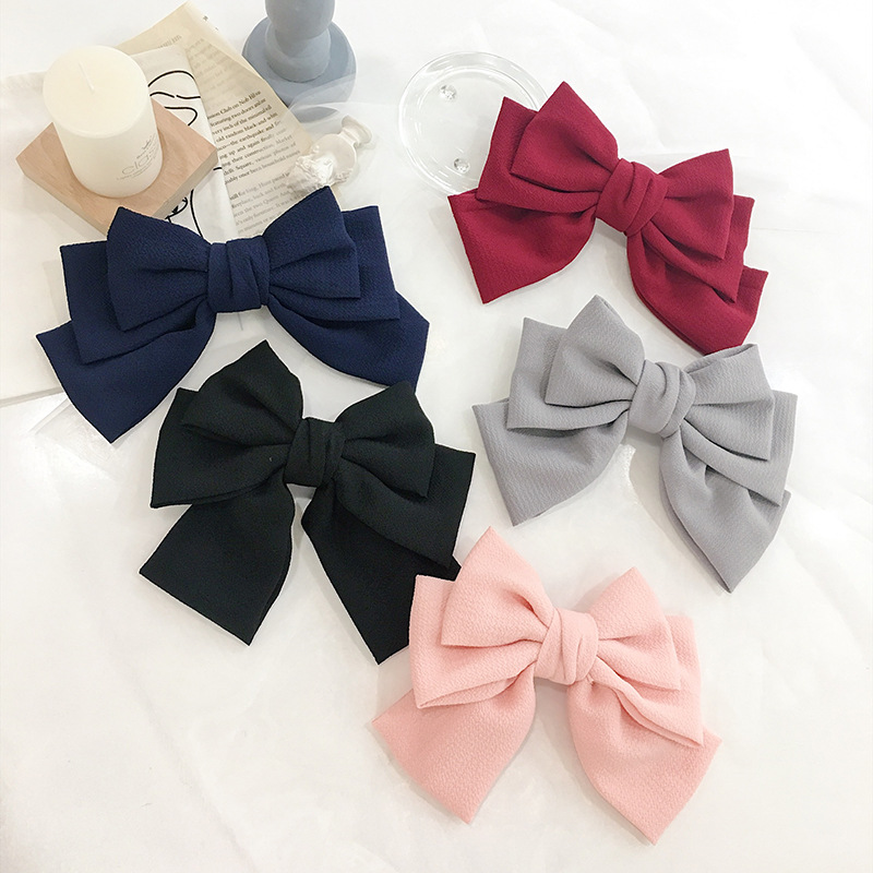Oaoleer Hair Accessories Big Bow Clips for Girls 3 Layers Seersucker Bows with Spring Kids Headwear
