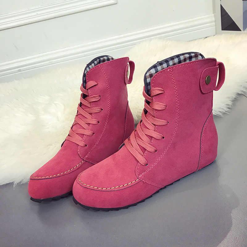 Ayakkabı kadın düz ayak bileği kar motosiklet botları kadın süet deri dantel-up lastik kışlık botlar kadın Botas Mujer kar çizmeler H76