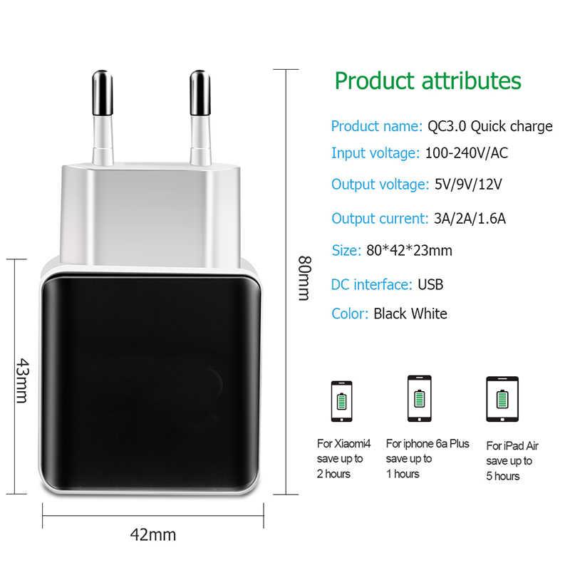 Carregador USB UE/EUA Plug 18W Carga Rápida QC 3.0 Parede Carregador de Celular tablet Carregamento rápido para iPhone 7 8 Xiomi para Huawei