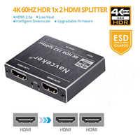 ProAV 4K UHD HDMI Splitter 2,0 1x2 HDMI 2,0 divisor HDCP 2,2 HDR divisor HDMI 2,0 4K HDMI2.0 divisor para Blu-ray DVD PS3 PS4