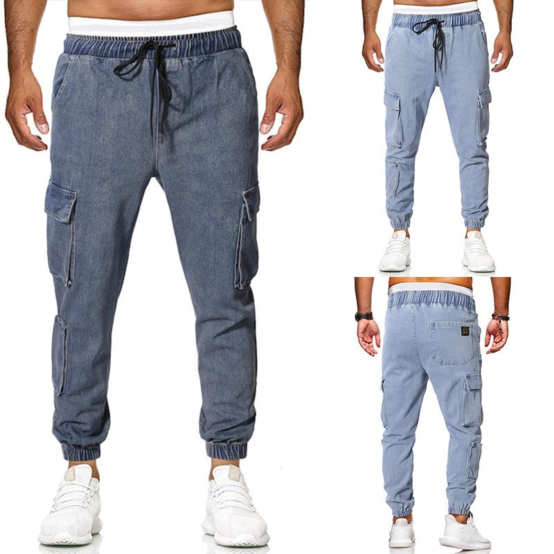 2019 Summer New Style Fashion Men Multi-pockets Casual Workwear Ankle Banded Pants Loose And Plus-sized Jeans K212