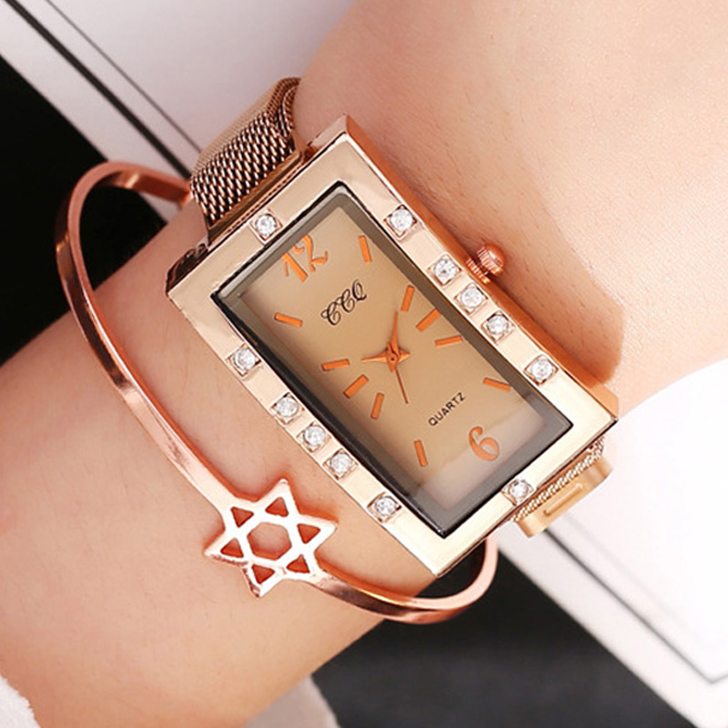 New Fashion Square Ladies Watch Women Rose Gold Casual Diamond Watch Female Wrist Watches Steel Magnetic Mesh Rectangle WatchClo