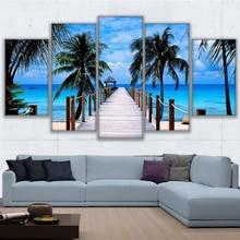 Pintura en lienzo HD estampar imagen de alta calidad para decoración del hogar cuadro Modular de 5 paneles de decoración de parque de elefantes Bali, cartel de paisaje