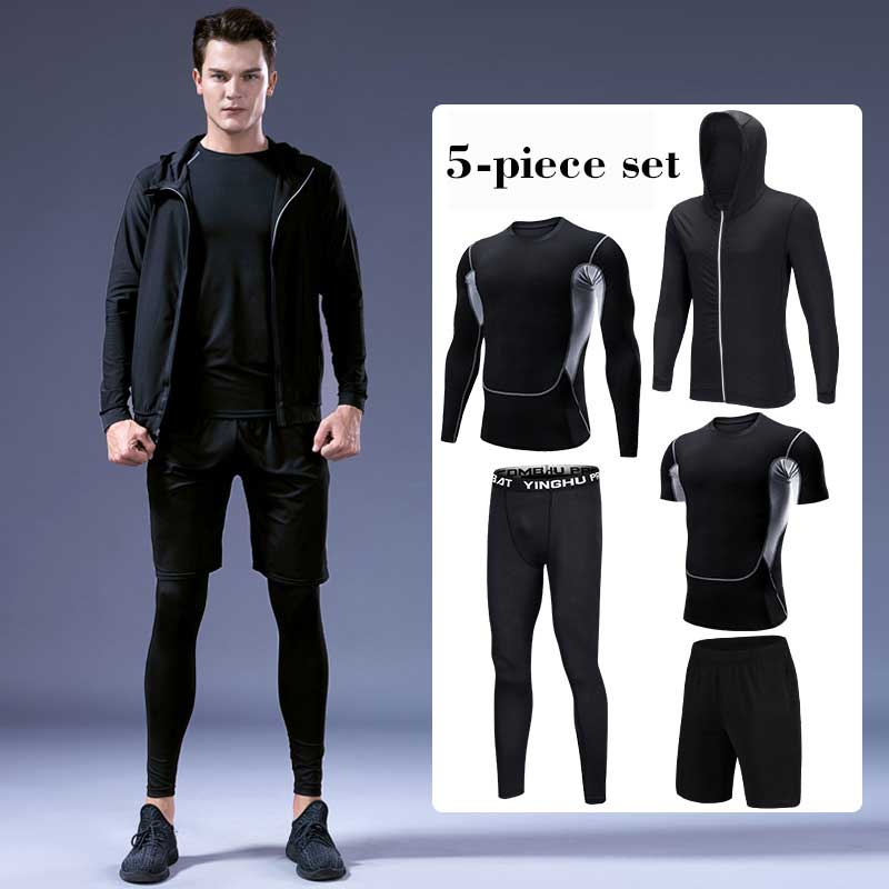 New Gym Tracksuit Suits Men Fitness Hooded Outdoor Quick-Drying Tight-Fitting Running Five Sets Jogging Casual Oversize Homme