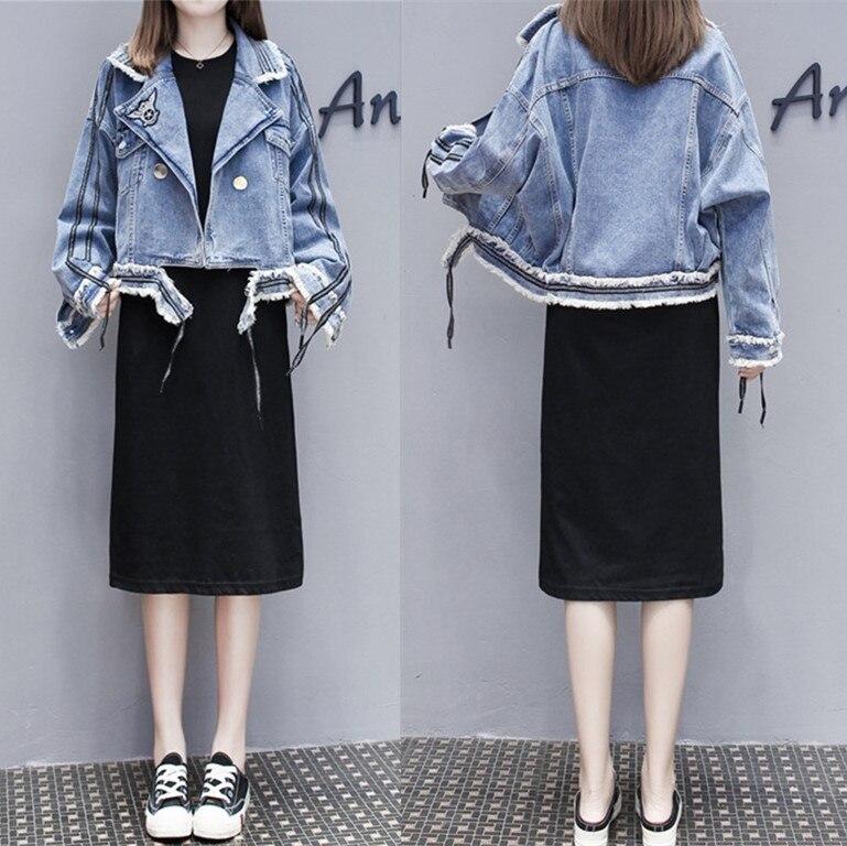 Ozhouzhan produits européens 2019 automne nouveau Style Cool frange barre latérale pli-down col jean manteau femmes court