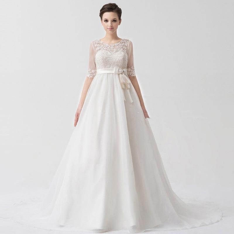 Detachable Jacket Half Sleeves Empire Pregnant Woman Evening Gown 2017 Floor Length Vestido De Noiva Mother Of The Bride Dresses