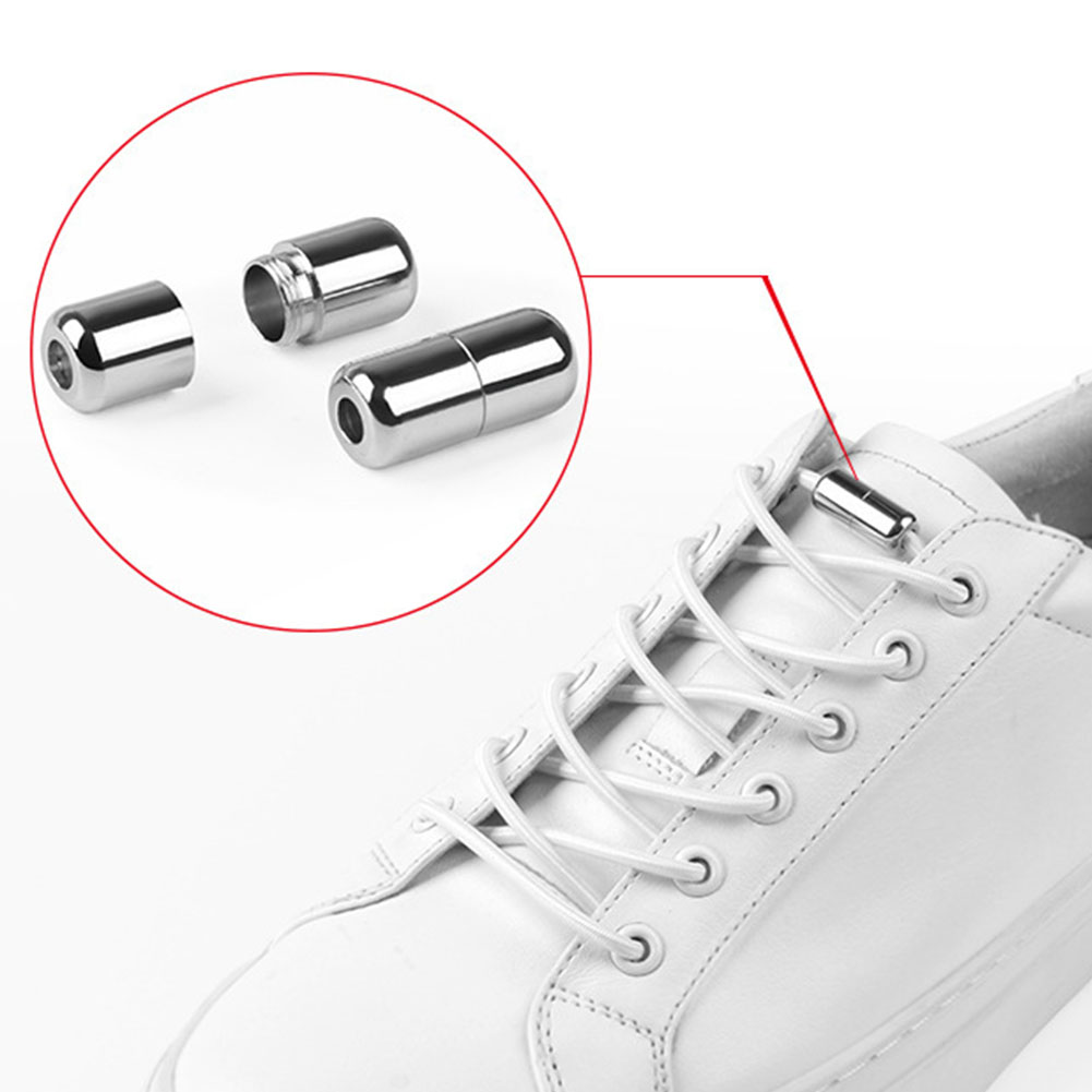 1 Pair Sneakers Shoelace Accessories Stretching Lock Round Elastic Sports Quick Release Metal Cap No Tie Kids Adults Lazy Strap