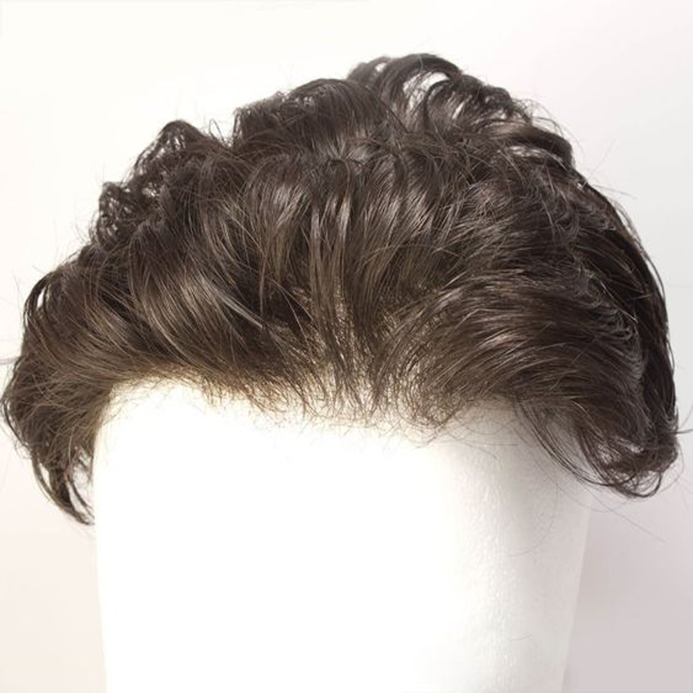 BYMC Swiss Lace&PU Men Toupee 100% Real Human Hair Replacement Systems Wig Comfortable Indian Hair Natural Density Men's Wig
