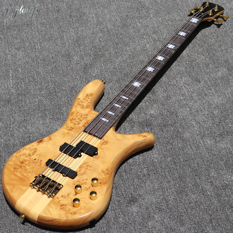 4 string 5 string tree burl top neck through active bass guitar 43 inch high gloss natural color electric bass guitar