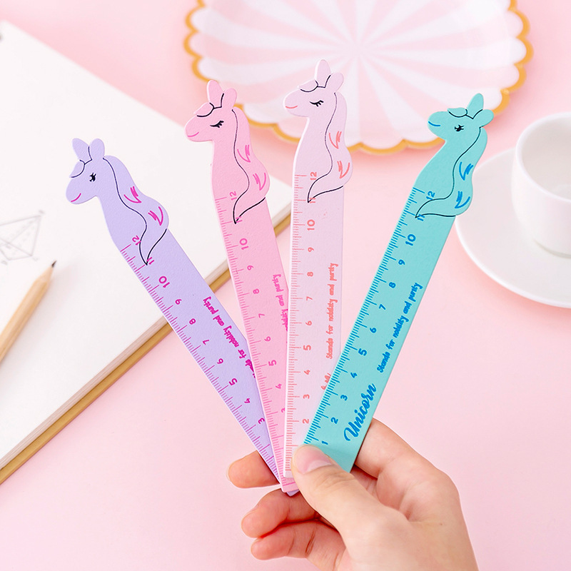 Cute Cartoon Animal Shape Unicorn Wood 12cm Straight Rulers For School Study Office Supplies Stationery Wooden Ruler