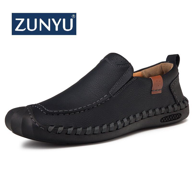ZUNYU New Comfortable Men Casual Shoes Loafers Men Shoes Quality Split Leather Shoes Men Flats Hot Sale Moccasins Shoes  Size 46