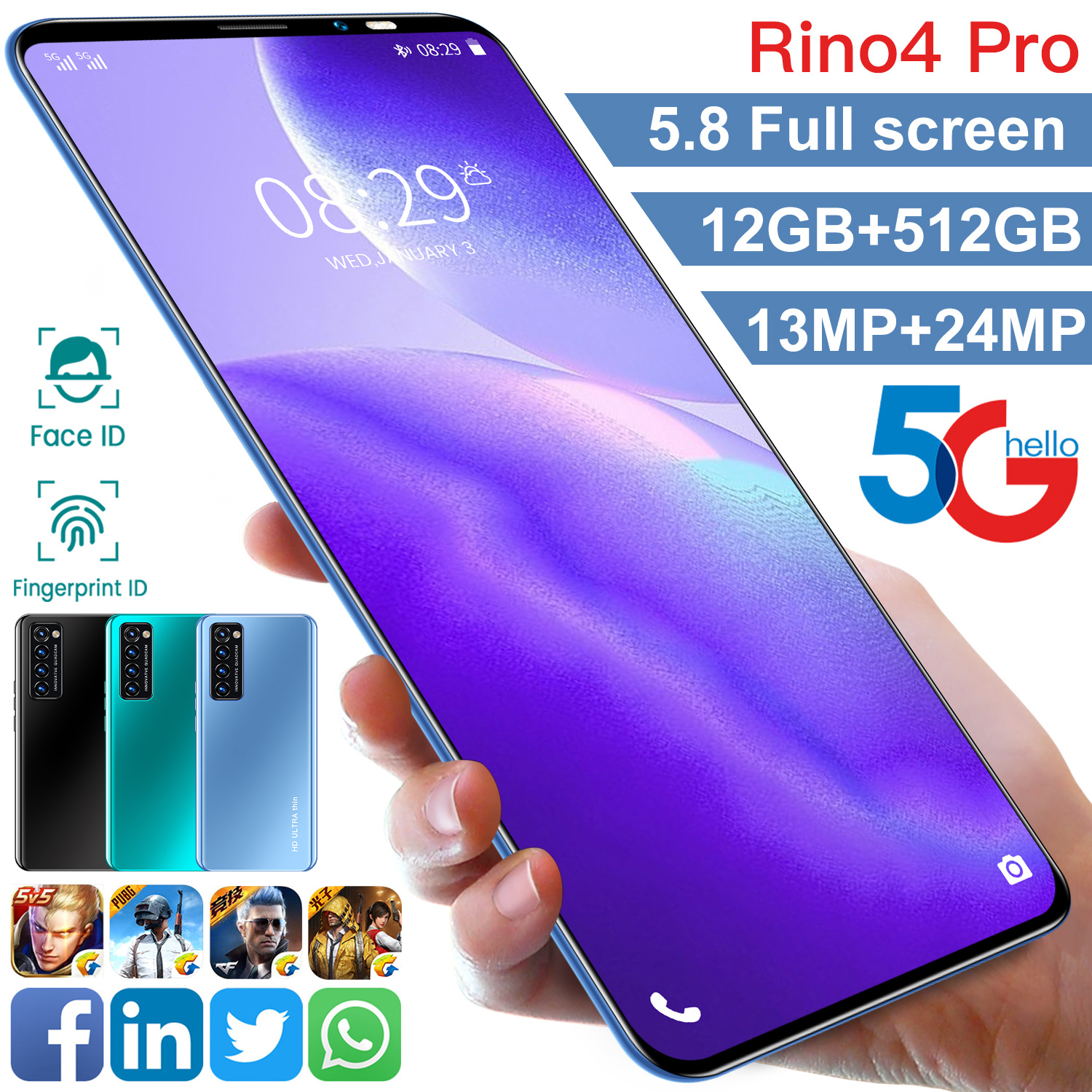 Global Version Universal Rino4 Pro 5.8Inch Screen Android Smartphones 12GB+512GB MTK6889 10-Core Face ID Unlock Mobile Phone