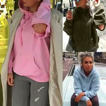 Sweatshirt Plus Size Womens Long Sleeve Cut Out Solid Hooded Hole Pullover Tops long sleeve asymmetric cut out tee